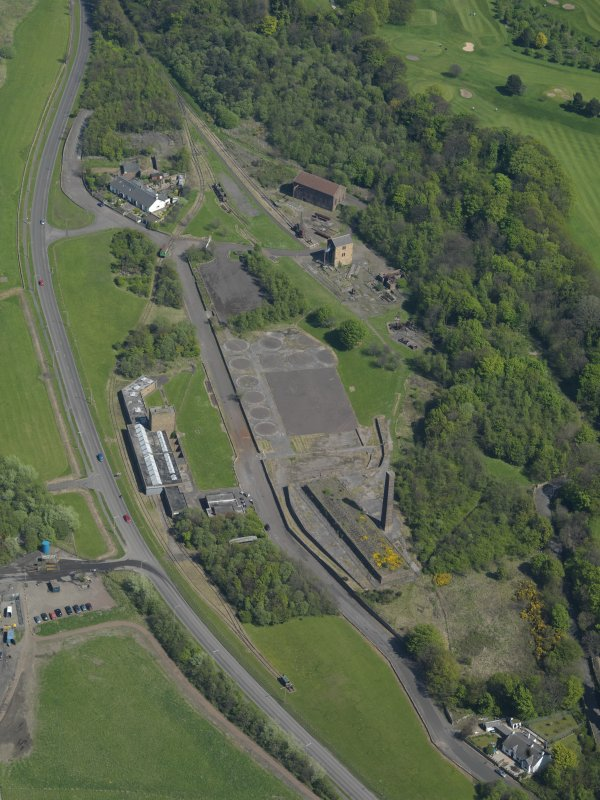 Oblique aerial view centred on the Mining Museum, taken from the WSW.