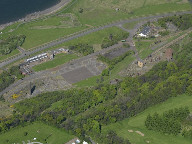 Oblique aerial view centred on the Mining Museum, taken from the SSW.