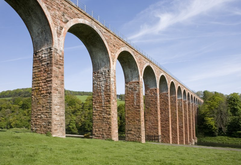 View of Leaderfoot railway viaduct from SSE.  The line is now closed.