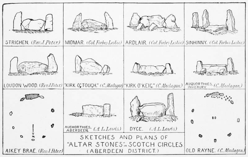 "Diagram showing two plans of recumbent stone circles and ten elevations of recumbent stones and flankers.  Titled: ""Sketches and Plans of ""Alter Stones""in Scotch Circles (Aberdeen District)""."