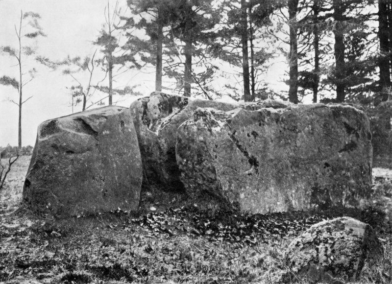 """Photograph of recumbent stone and flankers at Loanhead of Daviot, taken from SW. Titled: """"Loanhead. Recumbent Stone and Flankers""""."""