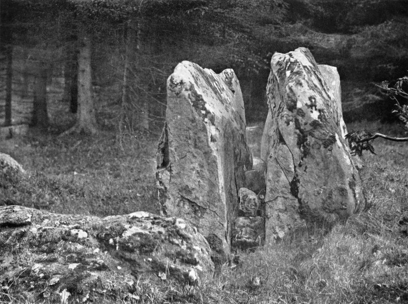"""Photograph of recumbent stone at Loanhead of Daviot, taken from ESE. Titled: """"Loanhead of Daviot. Double Recumbent Stone""""."""