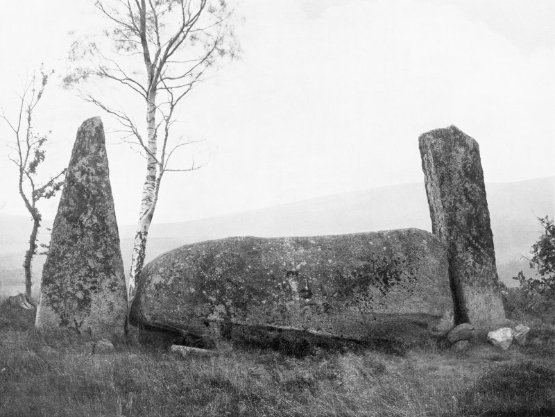 """Photograph of recumbent stone circle at Cothiemuir Wood, taken from SSW. Titled: """"Cothie Muir. Recumbent Stone and Flankers""""."""