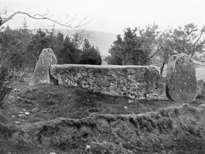"""Photograph of recumbent stone circle at Old Keig, taken from SW. Titled: """"Auld Keig. Recumbent Stone and Flankers""""."""