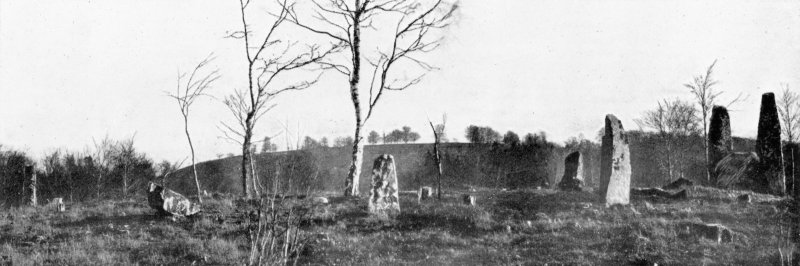 """Photograph of recumbent stone circle at Cothiemuir Wood, taken from NW. Titled: """"The Cothie Muir Circle""""."""