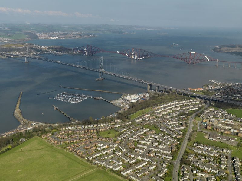 General oblique aerial view centred on South Queensferry with the bridges adjacent, taken from the SW.