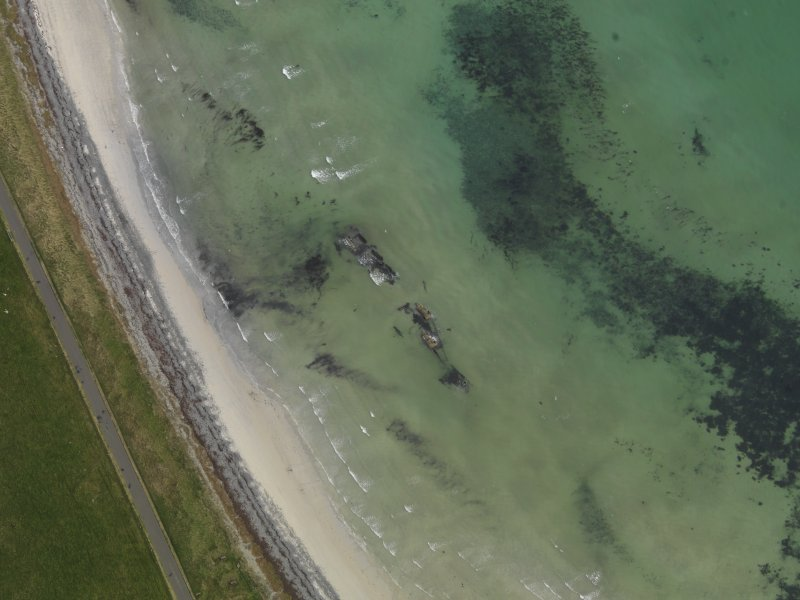 Oblique aerial view centred on the remains of the German destroyer, taken from the SW.