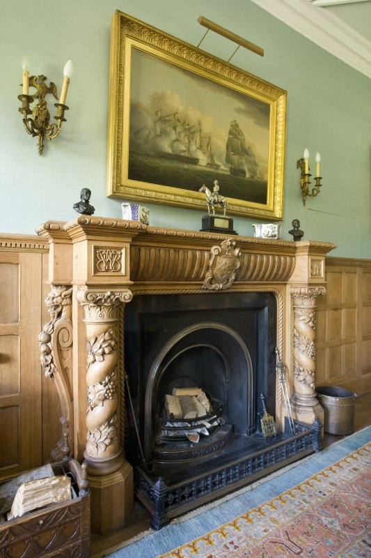 Interior. 1st floor. Dining room. Fireplace. Detail