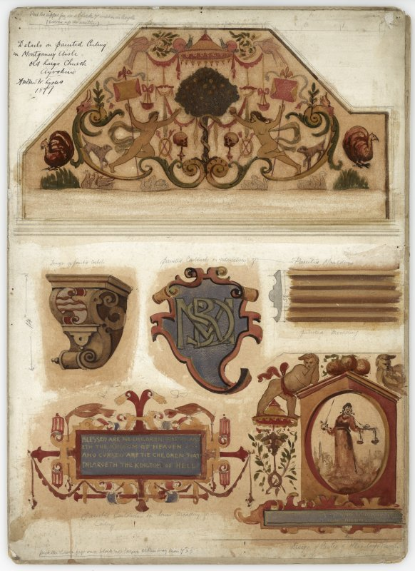 """Insc """" Details on painted ceiling in Montgomery Aisle Old Largs Church Ayrshire"""" Painted cartouches, corbels. Signed Andrew W Lyons 1897"""