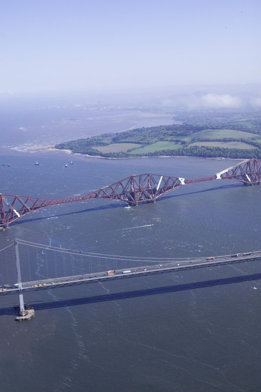 Oblique aerial view centred on the Forth road and rail bridges, taken from the W.