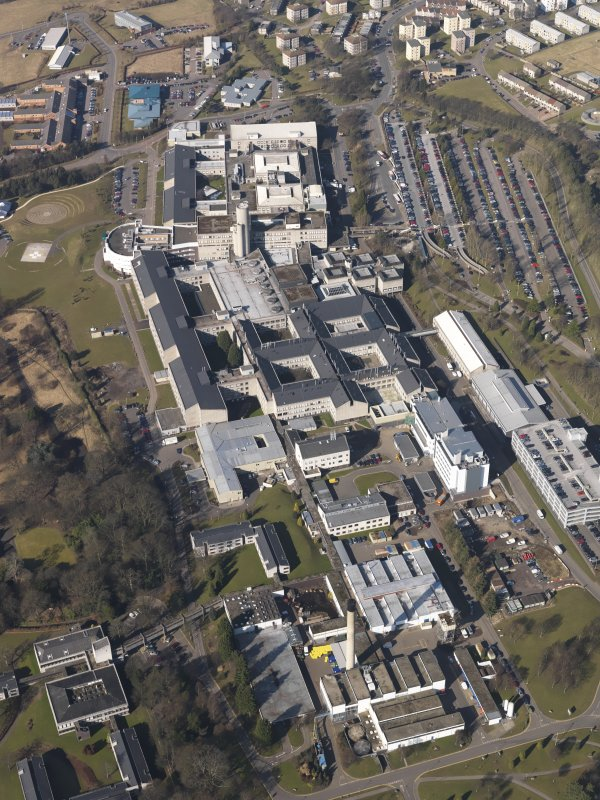 Oblique aerial view centred on the hospital, taken from the ESE.