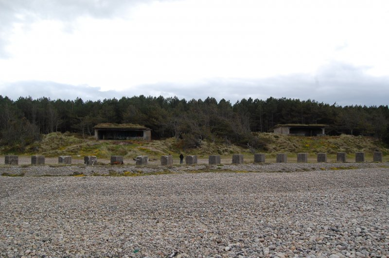 The two gun emplacements of the coastal battery in Lossie forest with anti-tank blocks running in the foreground.