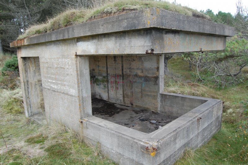 A searchlight emplacement at the coastal battery in Lossie Forest.