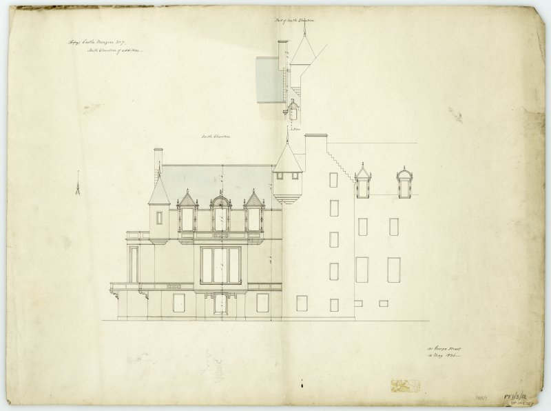 South elevation showing addition with dimensions at Castle Menzies. Titled: '(Copy) Castle Menzies. No.7. South Elevation of addition.' '131 George Street, 14th May 1836'