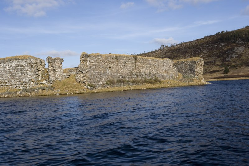SW turret and S wall, view from loch to SW