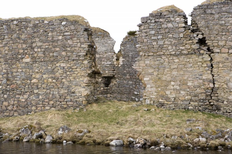 E outer wall, view of entrance from loch to E