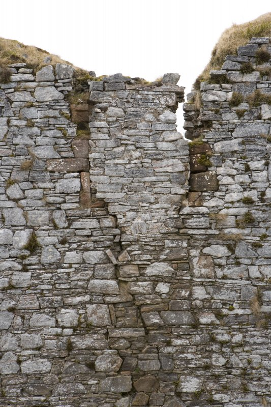 Great Hall, West wall, detail of blocked window at upper level