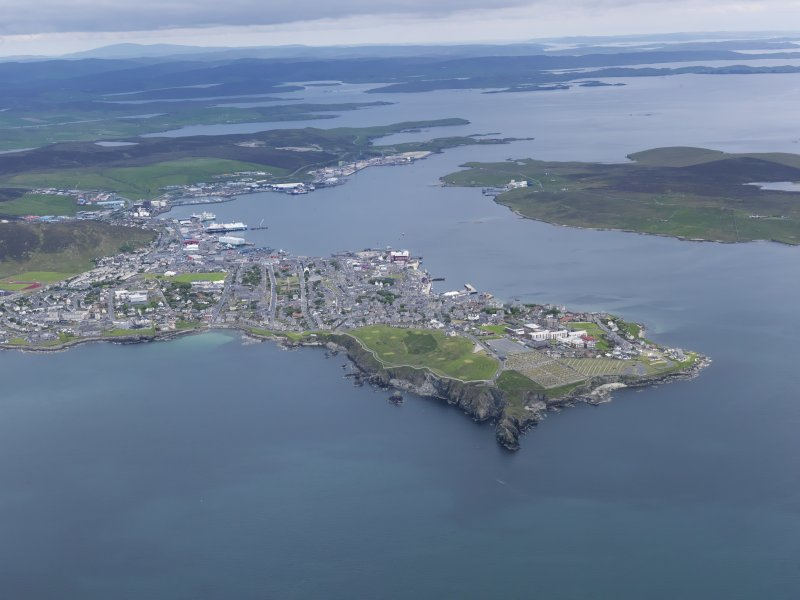 General oblique aerial view of Lerwick, looking to the NNW.
