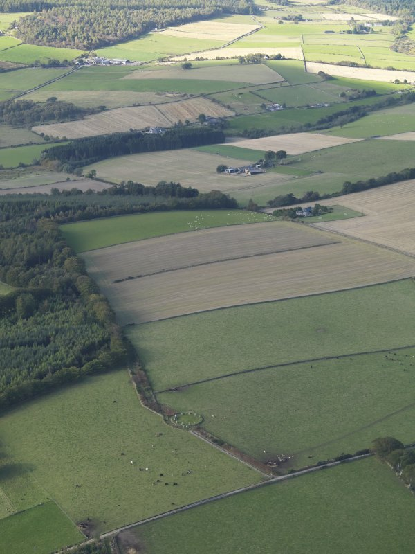 General oblique aerial view looking across the recumbent stone circle at Easter Aquhorthies, taken from the E.