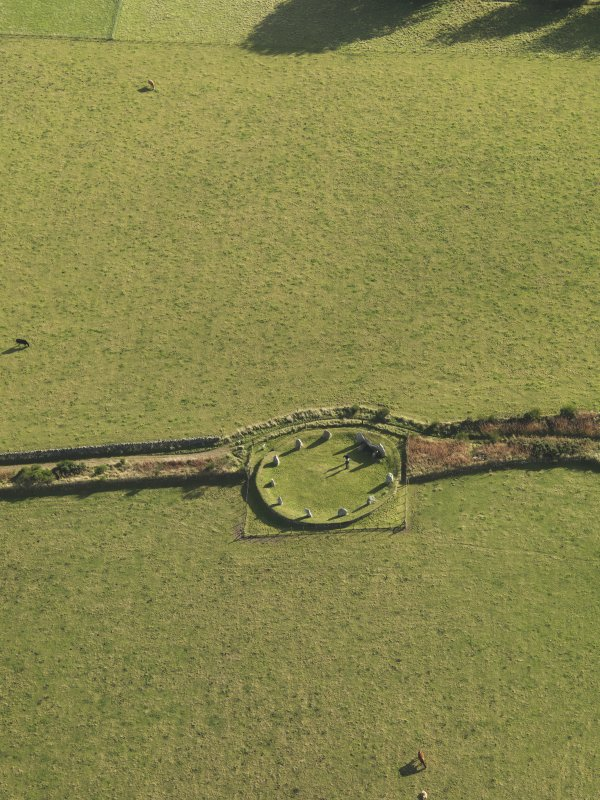 Oblique aerial view of East Aquhorthies recumbent stone circle, taken from the NW.