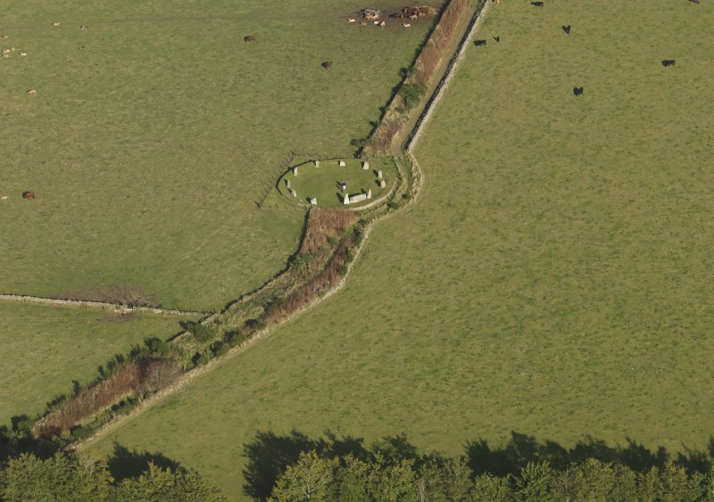Oblique aerial view of East Aquhorthies recumbent stone circle, taken from the WSW.