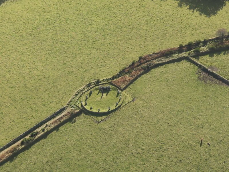 Oblique aerial view of East Aquhorthies recumbent stone circle, taken from the N.