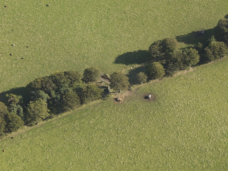 Oblique aerial view of Old Keig recumbent stone circle, taken from the NW.