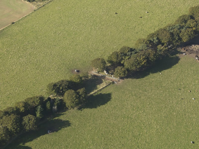 Oblique aerial view of Old Keig recumbent stone circle, taken from the SE.