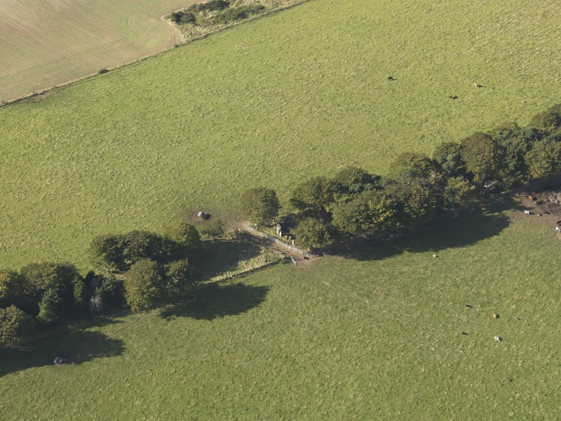 Oblique aerial view of Old Keig recumbent stone circle, taken from the ESE.