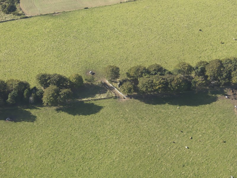 Oblique aerial view of Old Keig recumbent stone circle, taken from the E.