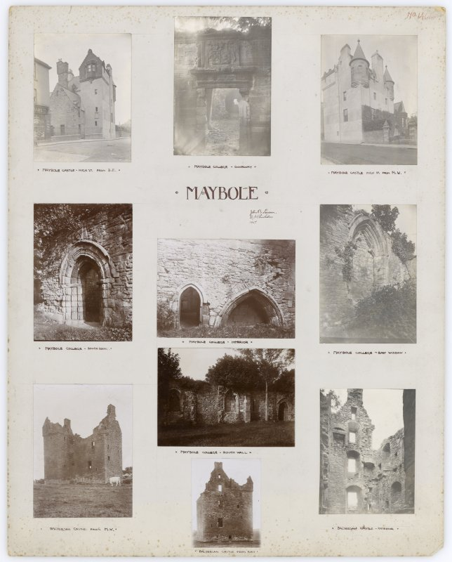 Ten photographs showing Maybole Castle, Maybole College and Baltersan Castle. Titled: 'Maybole. John B Lawson. D J Chisholm 1907'.