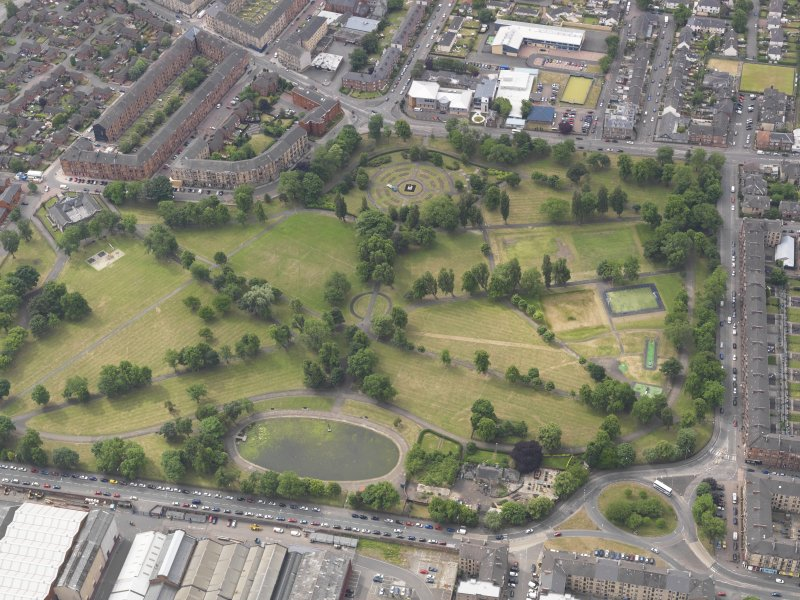 Oblique aerial view of Elder Park, Glasgow, looking S.