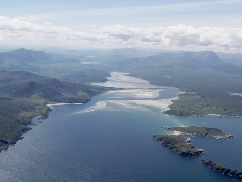 General oblique aerial view of Tongue Bay and the Kyle of Tongue with Ben Hope and Ben Loyal beyond, taken from the NNE.
