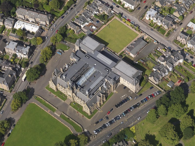 Oblique aerial view of the academy taken from the SSE.
