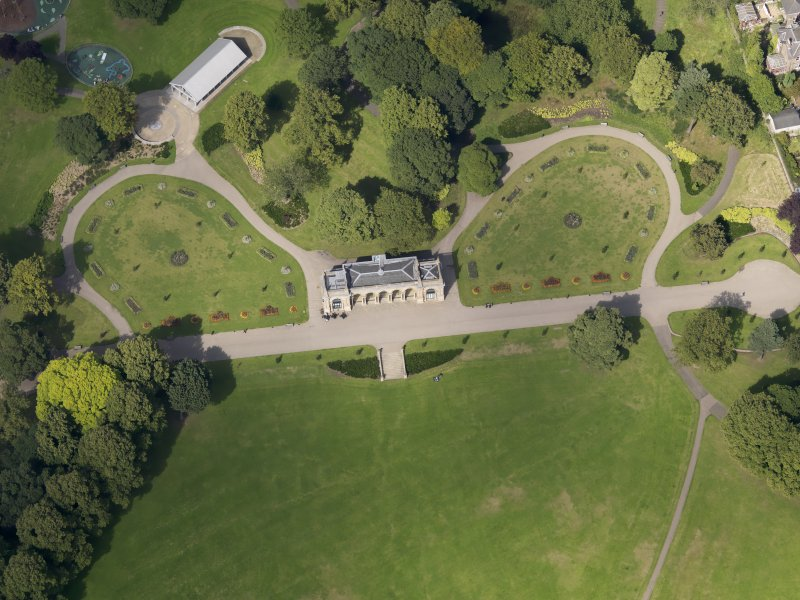 Oblique aerial view of the pavilion taken from the S.