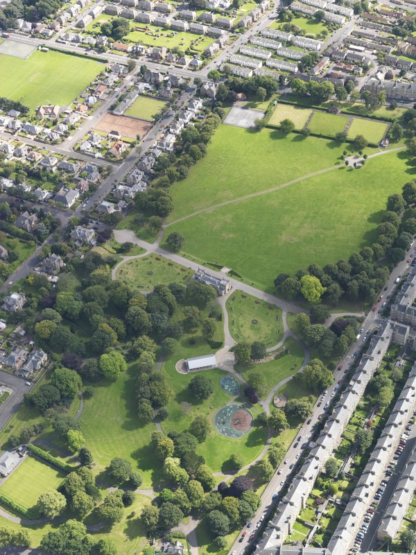 General oblique aerial view of the park, centred on the pavilion taken from the SE.
