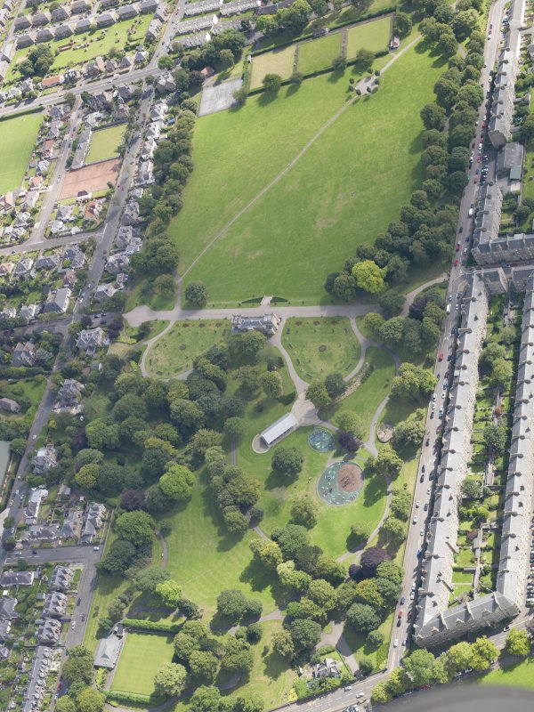 General oblique aerial view of the park, centred on the pavilion taken from the S.