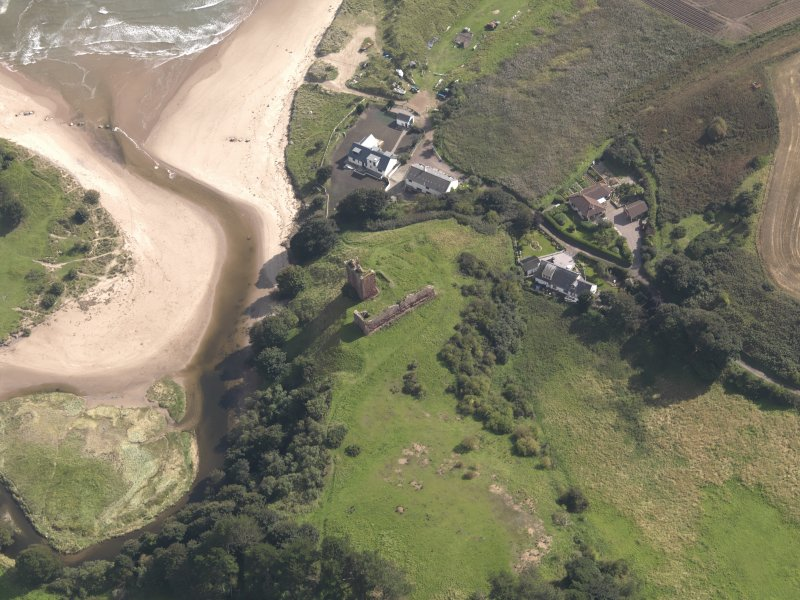 Oblique aerial view of Red Castle, taken from the NW.
