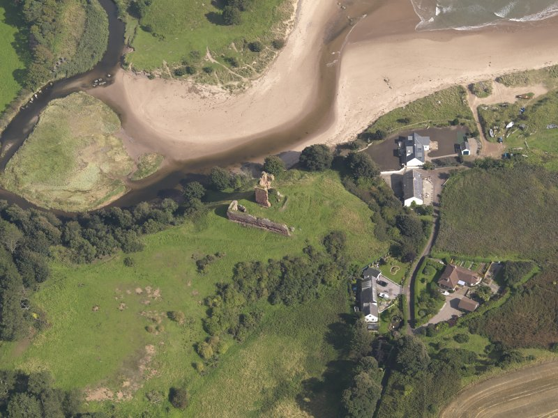 Oblique aerial view of Red Castle, taken from the WSW.