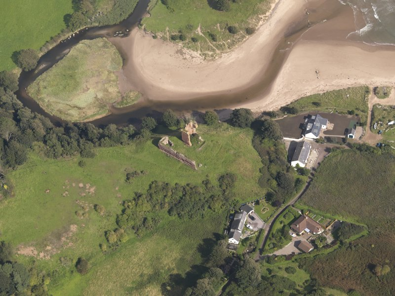 Oblique aerial view of Red Castle, taken from the SW.