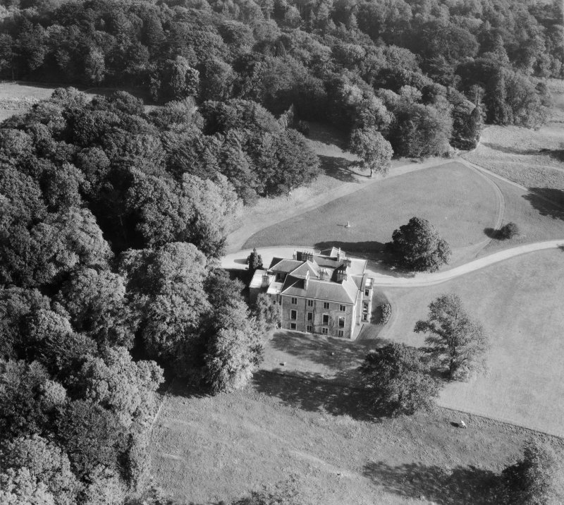 Earlston House, Borgue.  Oblique aerial photograph taken facing east.  Prior to its demolition in about 1954.