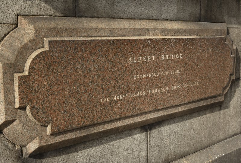 Detail of commemorative marble panel (Albert Bridge, commenced A.D. 1868. The Honourable James Lumsden, Lord Provost)