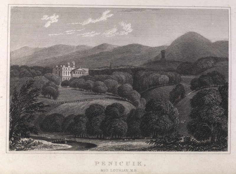 Engraving of river, cliffs and gazebo at the Hermitage. Titled 'Ossian's Hall. Drawn by W. H. Watts. Engraved by Wm. Green. Published January 1st 1800 by Cadell & Davies, Strand.'