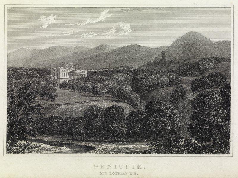 Engraving of distant view of Penicuik House. Titled 'Penicuik, Midlothian.'