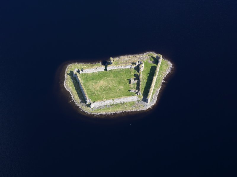 Oblique aerial view of Lochindorb Castle, taken from the SE.
