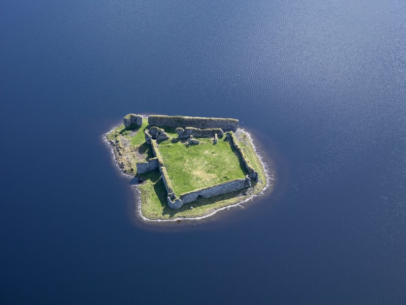 Oblique aerial view of Lochindorb Castle, taken from the NW.