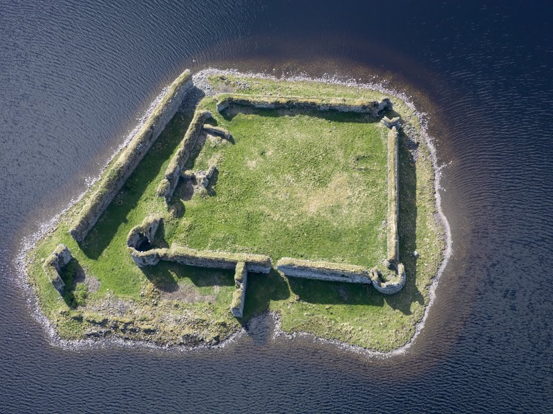 Oblique aerial view of Lochindorb Castle, taken from the NNE.