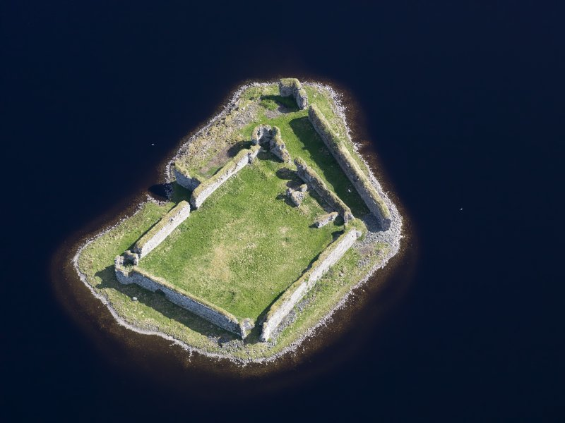 Oblique aerial view of Lochindorb Castle, taken from the WSW.