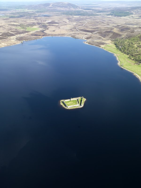 General oblique aerial view of Lochindorb Castle, taken from the SW.