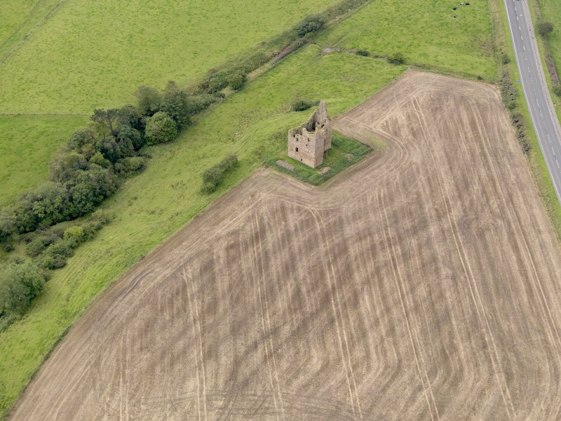Oblique aerial view of Baltersan Castle, taken from the NE.